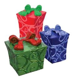 """Fairy Garden Miniature """"Gifts"""" Picks, Set 3 Asst. by Fiddlehead. $7.95. 3 Assorted Christmas Presents. Each measures 1.5""""H. Great addition for a holiday decor for a Fairy Garden or a Dollhouse"""