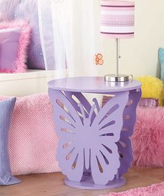 New Side End Accent Butterfly Table Night Stand Nightstand Girls Bedroom Decor Butterfly Bedroom, Butterfly Table, Butterfly Shape, Purple Butterfly Nursery, Butterfly House, White Butterfly, Hm Deco, Teen Girl Bedrooms, Trendy Bedroom