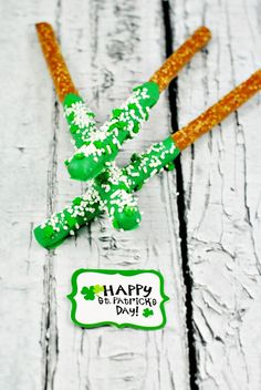 St. Patrick's Day Candy Coated Pretzel Rods Recipe