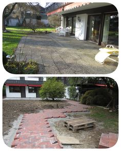 construction / building process, garden, design, planting, soil, pavement,