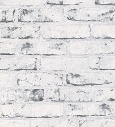 Papel pintado Nevada 453171 - imitación ladrillo blanco cuarteado en negro blanco | GAULAN