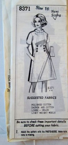 Grit Mail Order 8371 Womens 60s Dress Pattern B38 by Denisecraft, $19.99