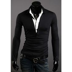 702fbe6c Fashion Style Fake Two Pieces Long Sleeve T-shirt $31.65 Layered Look,  Chinos,