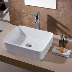 Luxier Ceramic Rectangular Vessel Bathroom Sink & Reviews | Wayfair