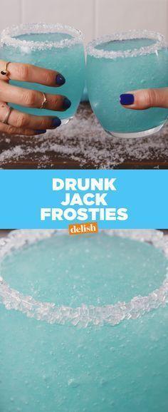 Drunk Jack Frosties will nip all your worries away. Get the recipe at Delish.com. #holidayrecipes #holidays #jack #frost #jackfrost #jackfrosties #frosty #frostie #slushee #slushie #alcohol #booze #liquor #recipes #easyrecipes