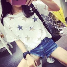 Harajuku Hollow Five-pointed Star Satellite Network Yarn Stitching Loose Short-sleeved T-shirts, only US$20.5