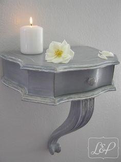 Console demi-lune ancienne en bois, pied central et petit tiroir : Meubles et…
