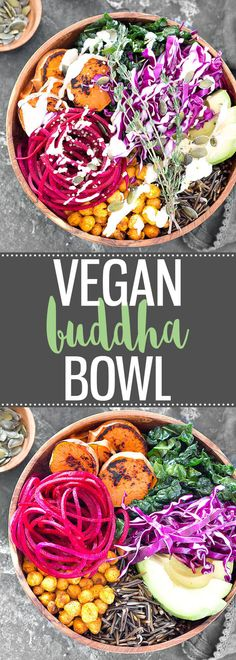 Vegan Buddha Bowl with Lemon Tahini Dressing - This power bowl is absolutely delicious! Super easy to make, packed with flavor, nourishing, healthy, and it comes together in about 50 minutes. via @easyasapplepie