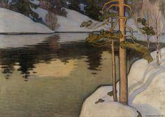 Väinö Blomstedt (Finnish, Lake with Snow on the Shore, Oil on canvas, 124 x 175 cm. via lilacsinthedooryard Landscape Art, Landscape Paintings, Landscapes, Les Oeuvres, Oil On Canvas, Scandinavian, Art Gallery, Illustration Art, Photos