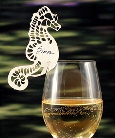 Seahorse place card to go on wine glass.
