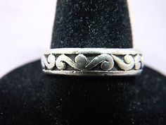 SOLID Sterling Silver 925 Filigree Band Ring Size 7.75 Bomao G2272