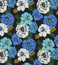Upholstery Fabric-Robert Allen Brushed Floral Ultramarine