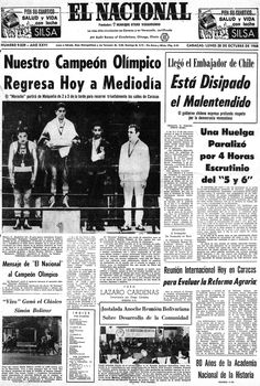"""Victoria de Francisco """"Morochito"""" Rodríguez en boxeo, ganador de la primera medalla de oro para Venezuela en un Juego Olímpico. Publicado el 28 de octubre de 1968."""
