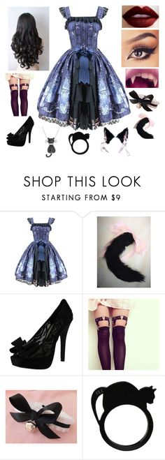"""Dressed Up Kitten"" by dangerous-kitten ❤ liked on Polyvore featuring Chinese Laundry, Amanda Rose Collection, dressup, kitten, bdsm, petplay and kittenplay"