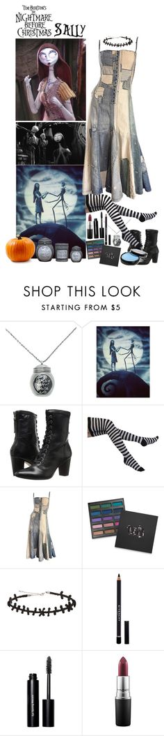 """""""Sally ~ Nightmare Before Christmas - Day 6 of Halloween Count Down ~ Outfit #1"""" by insane-alice-madness ❤ liked on Polyvore featuring Johnston & Murphy, Ralph Lauren, Urban Decay, Givenchy, Bobbi Brown Cosmetics, MAC Cosmetics and Burton"""