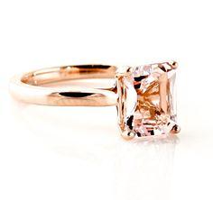Morganite Ring 14K Rose Gold Emerald Cut Solitaire Custom Gemstone Ring 14K White Yellow Rose Gold
