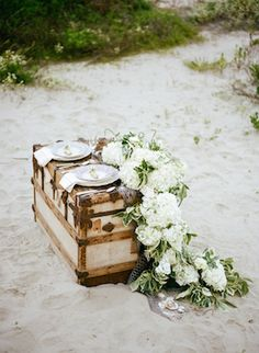 Sea chest table | Archetype Studio | see more on: http://burnettsboards.com/2014/10/mermaid-inspired-elopement/
