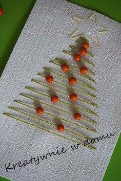 A simple but effective design for handmade christmas cards. Mix it up by choosing your own colour of thread and beads. Homemade Christmas Cards, Christmas Cards To Make, Noel Christmas, Homemade Cards, Handmade Christmas, Christmas Decorations, Christmas Ornaments, Navidad Simple, Holiday Crafts
