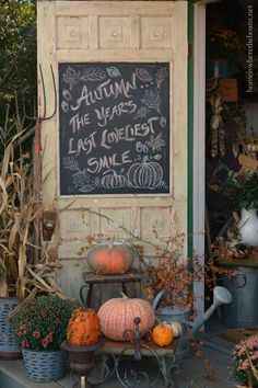 Autumn Chalkboard Door quote | homeiswheretheboatis.net #PottingShed #fall