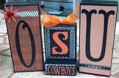 OSU Oklahoma State Cowboys 2x4 Block Set Orange by TheCraftyMann. , via Etsy.