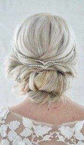 Wedding Day updo hairstlye diamond headpiece