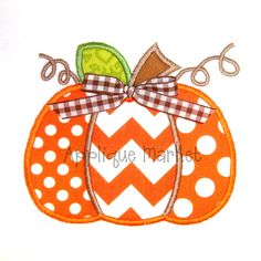Machine Embroidery Design Applique Pumpkin Three Fabrics. $4.00, via Etsy.