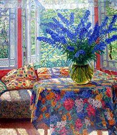 Vase of flowers in the winter garden - Nikolay Bogdanov-Belsky.     Tumblr