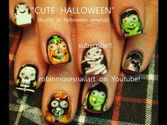 10 Cute Halloween Designs for Nails - YouTube - Nail art by Robin Moses