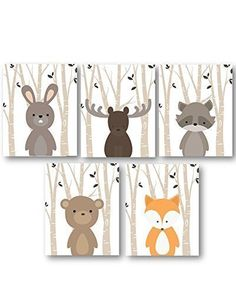 Handmade Nursery Baby Boy Nursery Art, Woodland Nursery Animals, Forest Animal Prints, Set of 5 PRINTS ONLY, Frames or Mats are NOT Included. Must be Framed by you to be hung. *** You can find more details by visiting the image link.