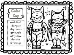 superhero coloring sight words reading activity sheets students will not even realize they are practicing reading when they color these superhero themed