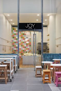 Modern interior design, joy cupcakes, marie yates, restaurant, cafe new off Cupcake Shop Interior, Shop Interior Design, Cafe Design, Retail Design, Store Design, Bakery Design, Commercial Design, Commercial Interiors, Design Comercial