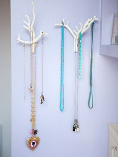 """These Urban Outfitters branch hangers are a fun way to display jewelry. I really like how my necklaces look hanging on them; the various lengths and shapes make for a charming collection."""