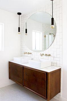 vintage credenza vanity, round mirror // bathroom update // smitten studio// love the backsplash Bathroom Renos, Budget Bathroom, Master Bathroom, Bathroom Ideas, Bathroom Mirrors, Bathroom Designs, Bathroom Storage, Bathroom Inspo, Bathroom Renovations