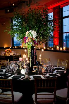 dramatic wedding reception, photo by Kaysha Weiner… Wedding Receptions, Wedding Reception Decorations, Wedding Table, Table Decorations, Wedding Centerpieces, Luxe Wedding, Summer Wedding, Multicultural Wedding, Rooftop Wedding