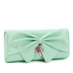 Damara Women Long Faux Leather Bifold Large Bow Design Wallet Handbag ($14) ❤ liked on Polyvore featuring bags, handbags, shoulder bags, vegan hand bags, faux leather purses, green purse, long purse and long shoulder bags