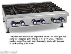 NEW-IMPERIAL-60-TEN-OPEN-BURNER-GAS-HOT-PLATE-IHPA-10-60-RANGE-280-000-BTUS