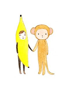 'boy meets monkey' by pop pop portraits.