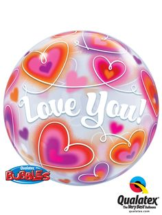 """With its bright colors and dynamic print, this """"#Love You Doodle #Hearts"""" Bubble Balloon® is really original! Perfect for #Valentine's day or any declaration!"""
