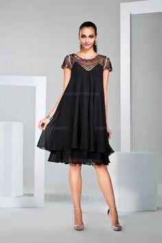 A-Line/Princess Jewel Knee-length Chiffon Mother of the Bride Dress