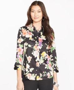 Lauren Ralph Lauren Petite Floral Button-Down Top