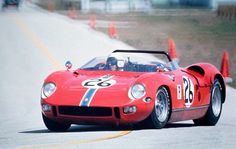 Those stripes on the front tell you immediately it is a NART Ferrari. In this case it is a Ferrari 250 P being driven by Chuck Parsons at Sebring in 1969.