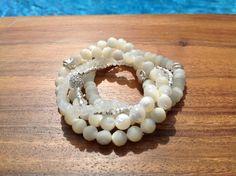 J. Marano Bracelets- Moonstone, Mothers of Pearl Shell, Sterling Silver & Swarovski Crystal