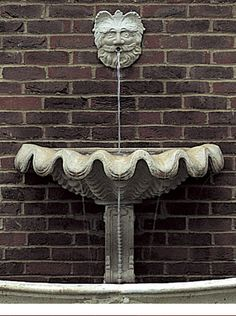 Italian Shell Wall Fountain comprising half shell with back and console