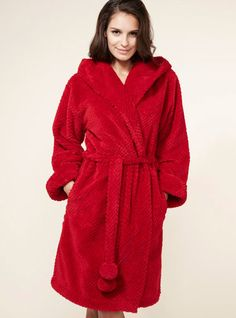 Winnie Waffle Hoody Robe - Pillar Box | Boux Avenue