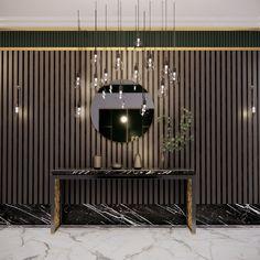 Original interior concept for the foyer Interior Concept, Interior Design, Veneer Panels, Level 5, Calacatta, Walnut Veneer, Hallways, Polished Brass, Door Design