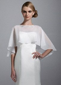 Add this lovely cape, with a beautifully beaded neckline, to any special outfit and you'll be sure to shine! Chiffon cape is decorated with a unique, beaded neckline Available in Soft White Button back. Imported. Dry clean. A sheer, flowing fabric that drapes well on the body.