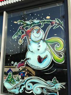 SNOWMEN WINDOW PAINTINGS | SNOW WOMEN \u0026 SNOW FAMILY WINDOW ART (Be sure to book well in advance \u2013 Christmas is the busiest season for Window Paintings. & Window art done by kmaria arts in AK | Glass murels | Pinterest ...