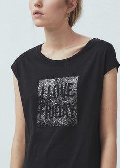 Printed panel t-shirt | MANGO