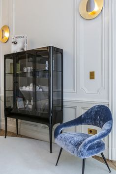Maison et Objet 2018 is the international authority for home decor, interior design, architecture and lifestyle culture and trends. Classic Decor, Blue Velvet Accent Chair, Living Spaces, Living Room, Living Area, Black Cabinets, Contemporary Decor, Contemporary Cabinets, Interior Design Inspiration