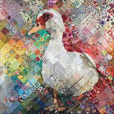 Bahamian Muscovy Duck 🦆☑️ Next up after this gal is quilted: 🐐 Fabric Art, Art, Collage Art, Creative Art, Fiber Art